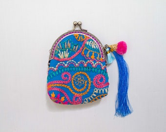 Indian Hand Embroidered Coin Purse, Tribal Coin Purse, Indian Embroidered Style, Boho, Tassel, Gift for her