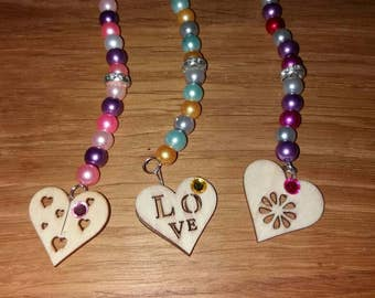 Wooden Heart Bag Charms