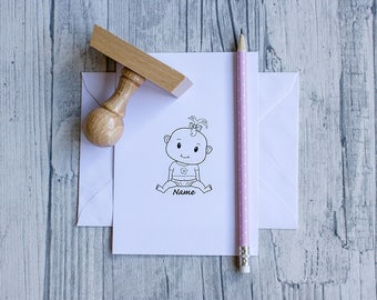 Stamp of the birth, personalizable, girl, wood handle, baptism, baby