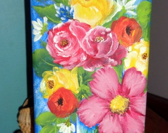 hand painted, handpainted, VASE of FLOWERS, 3 x 9 stretched MINI canvas painting