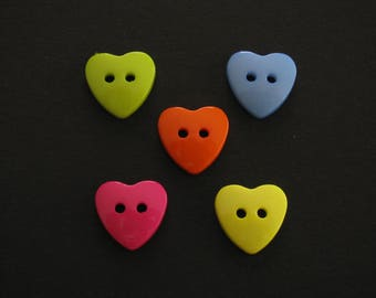 Heart Shaped Buttons, Resin, 2 Holes,  Small 1.5cm X 1.4cm (Set of 5 One of each: Light blue, yellow, dark pink, light green and yellow)