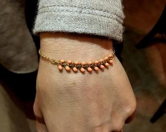 Romantic salmon wheat spike bracelet