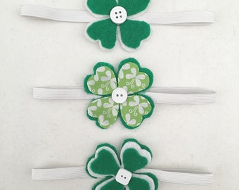CLEARANCE - Four Leaf Clover Headbands, St Patricks Day Headbands, Felt Headbands,