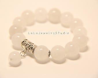 milky white beaded bracelets / 12mm beaded bracelets / gift for her / elastic bracelets