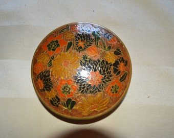 Brass and French Chinoisere Enamel Trinket box
