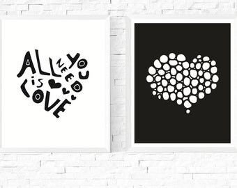 50% OFF Sale - Two Hearts Art Printables   Black and White   Set of 2  Heart   Minimalist   Scandinavian   Abstract   Couple Art   Hygge