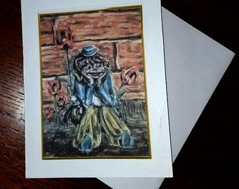 Greeting Card Clown with Cat - Blank Card - Blank Card - Cards with Envelope - Art Print - Pastel Painting - Soft Pastels - Clown - Cat