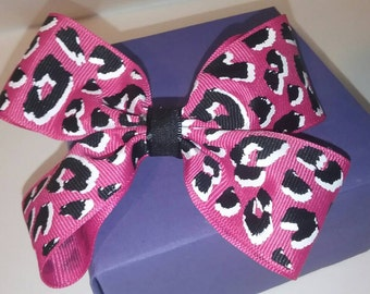 Pink cheetah ribbon hair bow
