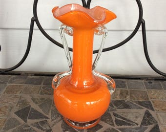 Wonderful  Small Vintage Orange and Clear Art Glass Vase