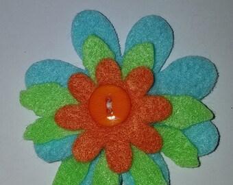 three colored flower hair clip