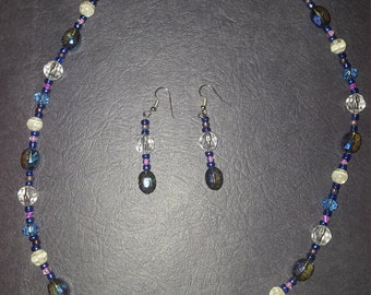 Blue and Purple Earring and Necklace Set