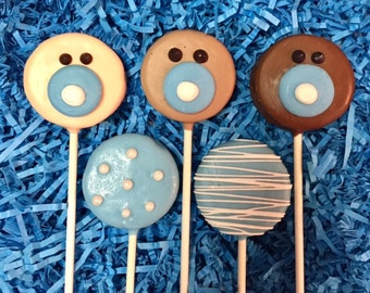 Baby boy Oreo cookie pops / baby shower / party favor / birth announcement / one dozen (12)