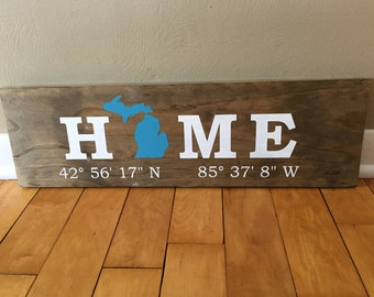 Wooden HOME Coordinates Sign-- Fully Customized with YOUR State, Colors, and GPS Coordinates