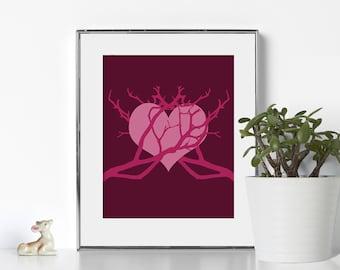 Valentines Day Digital Download Romantic Art Classic Design Lavender Royal Purple Heart Art Home Decor Bedroom Decor Manzanita Branch Japan