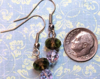 Muted green, sparkling lavender glass bead earrings