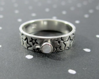 Rainbow Moonstone Star Sterling Silver Band