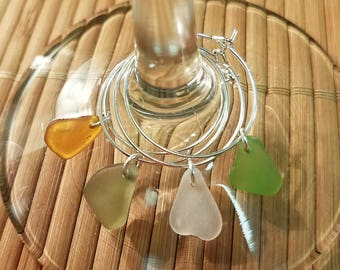 Lake Erie Beach Glass Wine Glass Charms- FREE SHIPPING!