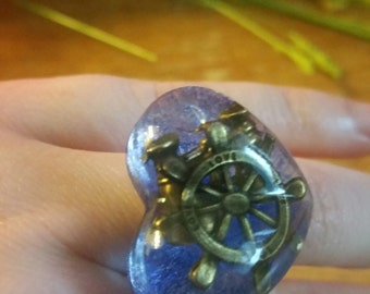 Sea themed resin sweetheart ring