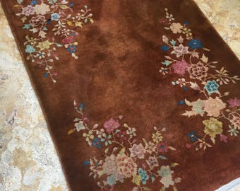 "2'11"" x 4'10"" Antique Chinese Art Deco Rug"