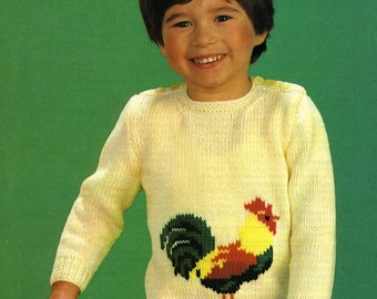 """Vintage Childs knitting Pattern to fit 18 to 24"""" Chest"""