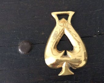 Vintage Spade Horse Brass / Farm / Country / Rustic / Bridle