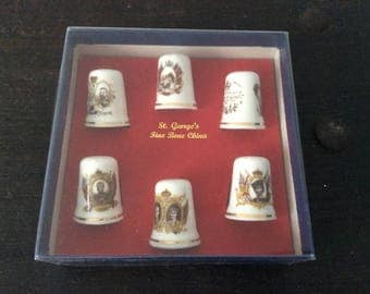 Vintage Porcelain Royalty Thimbles / St. George's Fine Bone China / Monarchy / Queen / King