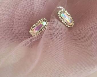 Holographic Earrings, Wedding Earrings, Bridal Earrings, Bridal Accessories, Bridal Jewelry, Silver Earrings, Bridesmaids, Free Shipping!