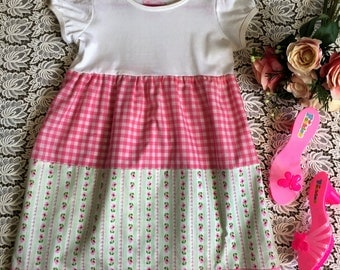 Girls dress. Pretty pink and pastel green floral and gingham girls tiered day dress. Vintage look summer dress. Tiered skirt ruffle dress.