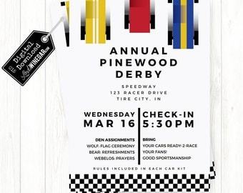 Cub Scout Pinewood Derby Invitation, Blue, Yellow, Red Checkered Race Car Invite | Personalized Digital Download 4x6 or 5x7 JPG