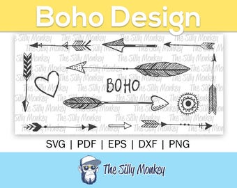 Boho Arrows SVG Clipart | Vector Cricut Cameo DXF Silhouette Trible arrow svg