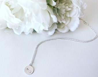 Personalised Initial & Heart Handstamped necklace jewellery, silver
