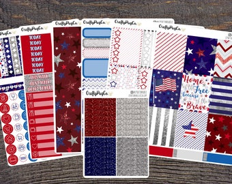 Red, White & Blue - Memorial Day - 4th of July // Weekly Kit Full Spread for Vertical ECLP- Or perfect for any planner!
