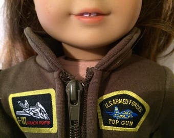 LAST ONE 18 Inch Doll Clothes Air Force Jumpsuit With Patches and Zippers  Fits Like American Girl Doll Clothes