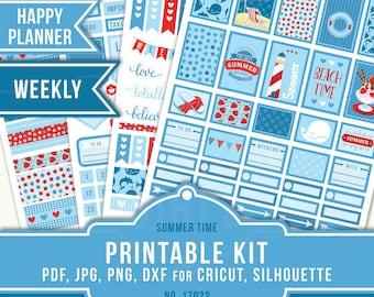 PDF Sticker Kit, Happy Planner Stickers, Printable Planner Stickers, Weekly Kit, Summer Planner, MAMBI Sticker Kit, July Weekly Kit, 17022