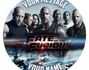 Fast And Furious Movie Inspired Personalised Birthday Cake Topper Decoration. Edible Icing 7.6""