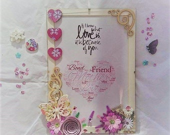 Hand decorated A4 floral frame