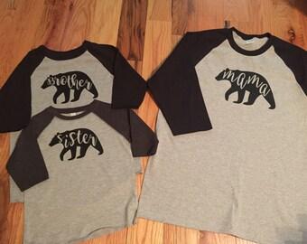Mama Papa Baby Brother Sister Family Bear Shirts