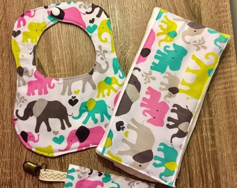 Handmade bib burp cloth and paci clip MONOGRAM AVAILABLE