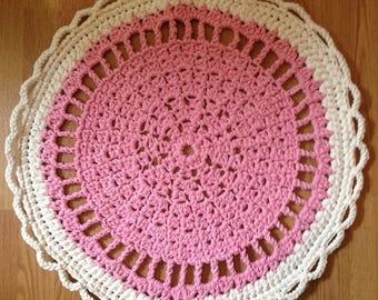 Handmade Crochet Round Rug Pink-white