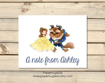 PRINTABLE Princess stationery, Princess Note Cards, Thank You Cards, Personalized Stationery, Beauty and the beast, / Digital File