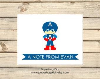 Superhero Stationery - Superhero Note Cards - Personalized Note Cards - Thank You Cards - Superhero Notecards/Captain America - Set of 10