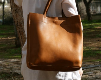 leather tote bag/ womens  handbag/ shoppers bag/ shoulder bag/ genuine leather brown tote/ ladies tote/ womens tote/ code 120 cognac colour