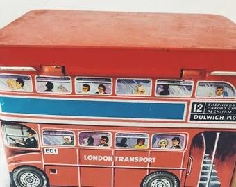 British double decker bus tin