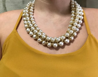 Synthetic Pearl Necklace and Golden brass chain.
