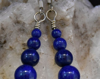 Lapis and silver dangling earring