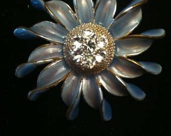 Vintage Blue Sunflower Rhinestone Brooch