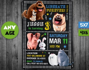 Secret Life of Pets Invitation, Secret Life of Pets, Secret Life of Pets Party, Secret Life of Pets Invite, Secret Life of Pets Birthday