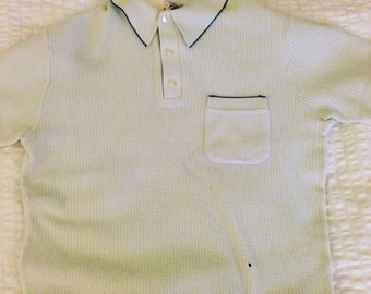 1950's Knitted Polo Shirt Extra Small Mesh Net Vintage Rare Crocheted Mod Like Fred Perry White