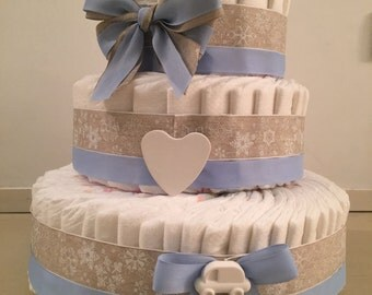100 DIAPER CAKE with handmade plaster