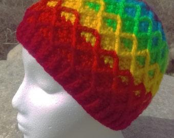 Pride Reversed order Rainbow Lattice Beanie